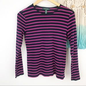 Lauren Ralph Lauren Navy Pink Striped Long Sleeve